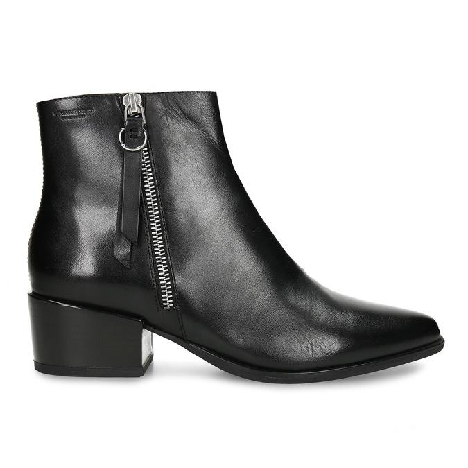 Kožená dámská černá kotníková obuv do špičky vagabond, černá, 694-6650 - 19