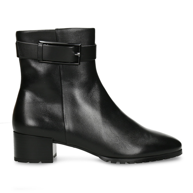 Černá dámská kožená kotníková obuv zimní hogl, černá, 694-6619 - 19