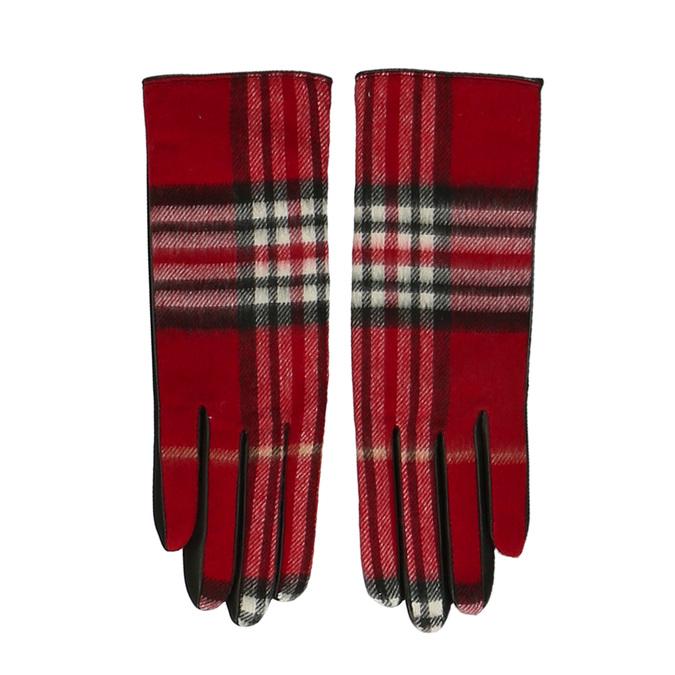 Červený károvaný set – šála a kožené rukavice junek, červená, 949-5106 - 16