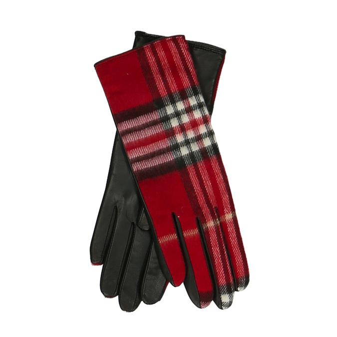 Červený károvaný set – šála a kožené rukavice junek, červená, 949-5106 - 26
