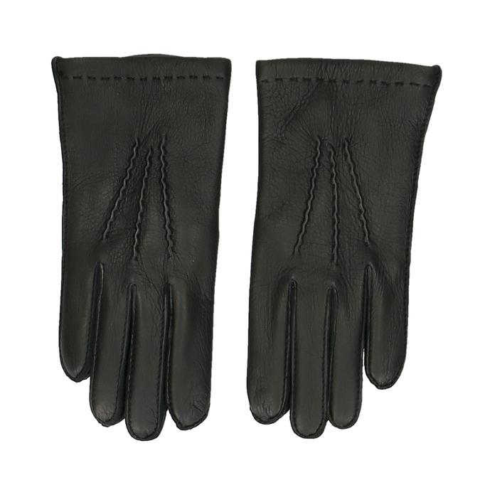 Černé pánské kožené rukavice junek, černá, 944-6140 - 26