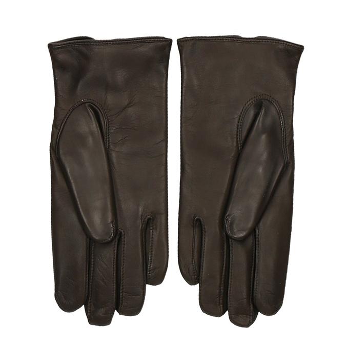 Hnědé pánské kožené rukavice s řasením a drukem junek, hnědá, 944-4112 - 16