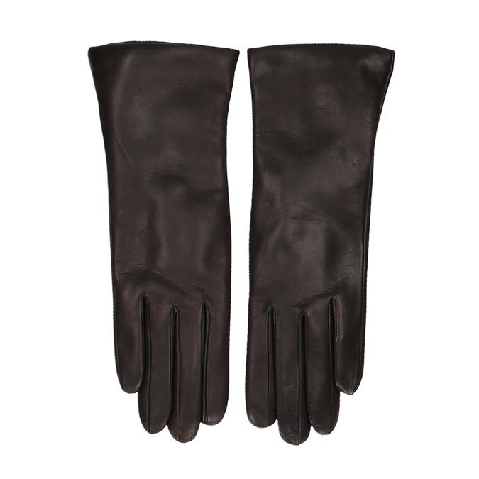 Tmavě hnědé dámské kožené rukavice junek, hnědá, 944-4257 - 26