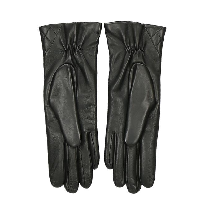 Černé dámské kožené rukavice s výrazným prošíváním junek, černá, 944-6128 - 16