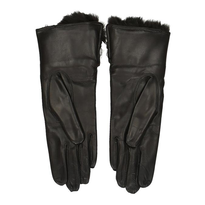 Černé dámské kožené rukavice s kožíškem junek, hnědá, 944-4152 - 16