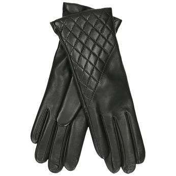 Černé dámské kožené rukavice s výrazným prošíváním junek, černá, 944-6128 - 13