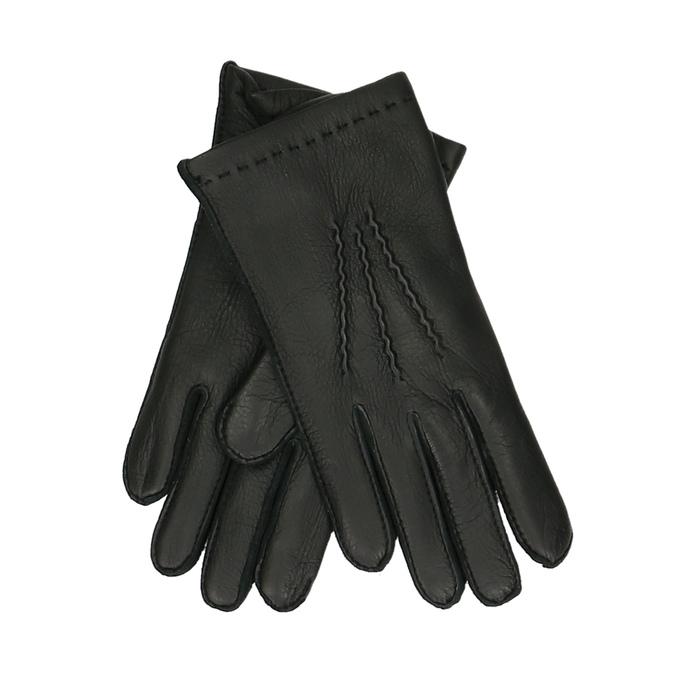 Černé pánské kožené rukavice junek, černá, 944-6140 - 13
