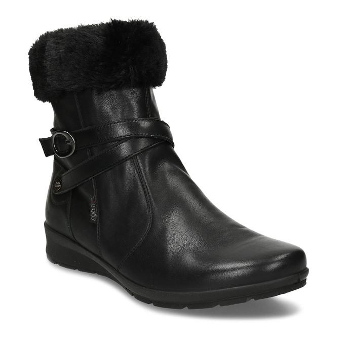Černá dámská kožená kotníková obuv s kožíškem comfit, černá, 594-6725 - 13