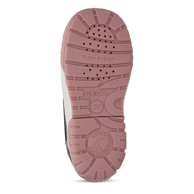 Růžové dívčí kožené zimní kotníkové tenisky geox, fialová, 196-5149 - 18