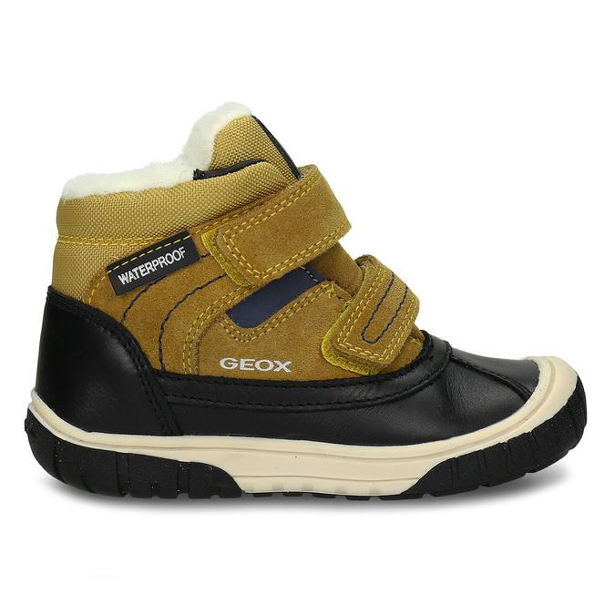 Žluto-černá kožená chlapecká zimní obuv s kožíškem geox, žlutá, 196-8148 - 19