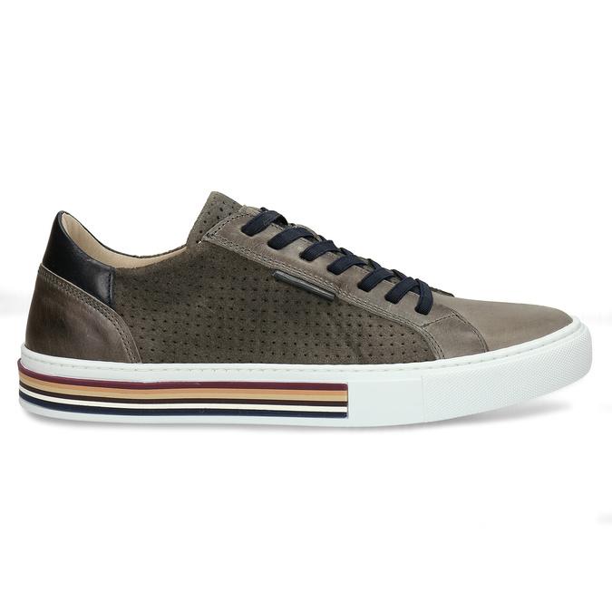 Pánské kožené ležérní tenisky bata, šedá, 846-2616 - 19