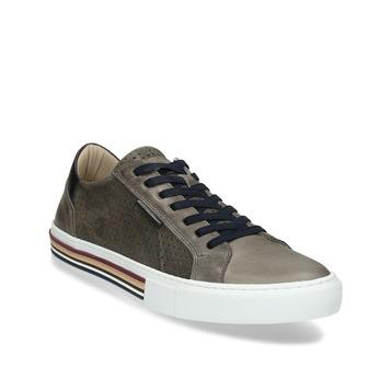 Pánské kožené ležérní tenisky bata, šedá, 846-2616 - 13