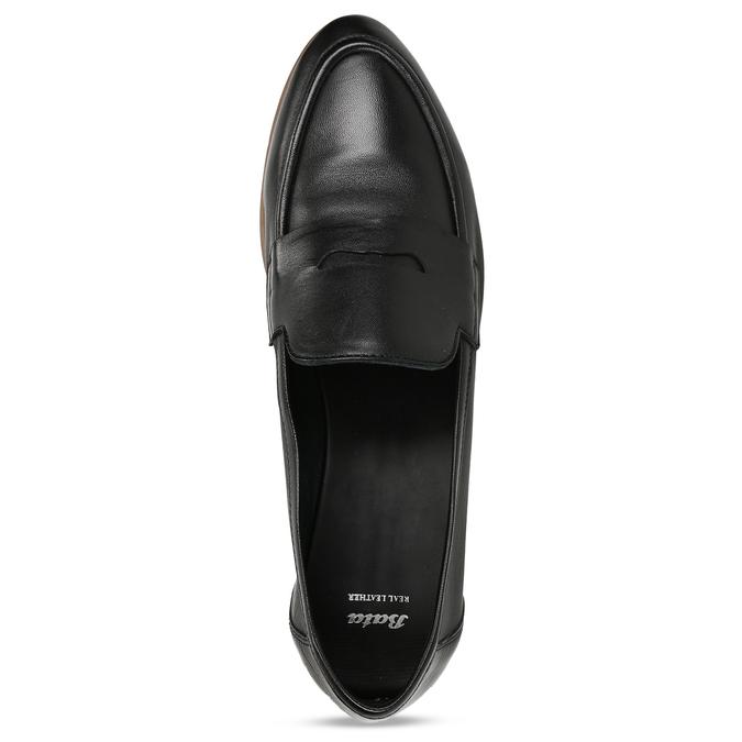Kožené dámské mokasíny černé bata, černá, 516-6600 - 17