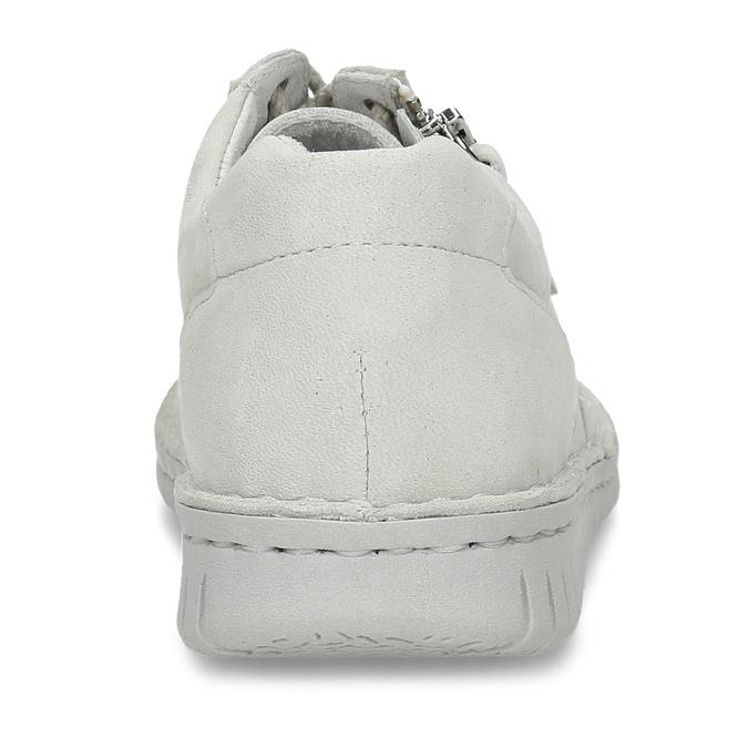 KOŽENÉ DÁMSKÉ BÉŽOVÉ TENISKY S PERFORACÍ bata, bílá, 526-1600 - 15