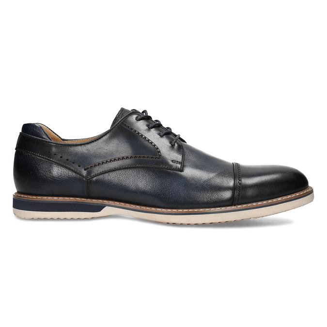 Tmavě modré pánské kožené polobotky v derby stylu bata, modrá, 826-9647 - 19