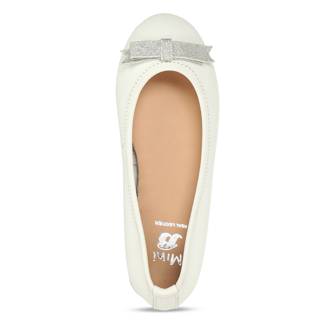 Bílé dívčí kožené baleríny mini-b, bílá, 324-1601 - 17