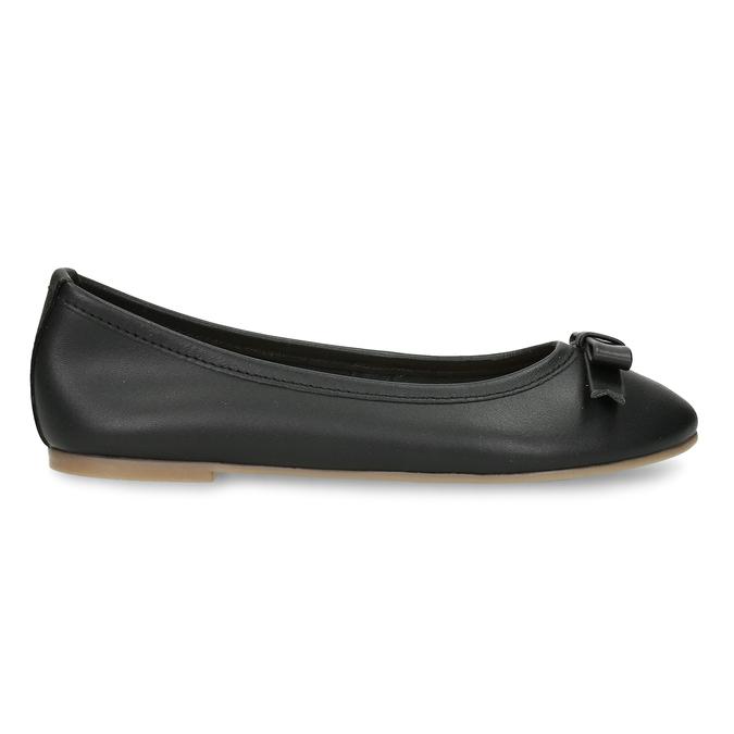 Černé dívčí kožené baleríny mini-b, černá, 324-6601 - 19
