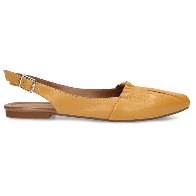 Hořčicově žluté dámské kožené sandály s uzavřenou špičkou bata, žlutá, 526-8623 - 19