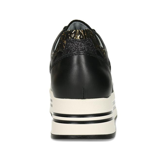 Černé kožené dámské tenisky na vyšší platformě nerogiardini, černá, 546-6603 - 15