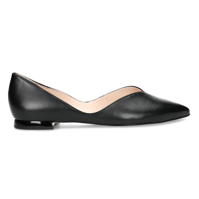 Černé kožené dámské lodičky na nízkém podpatku hogl, černá, 524-6636 - 19