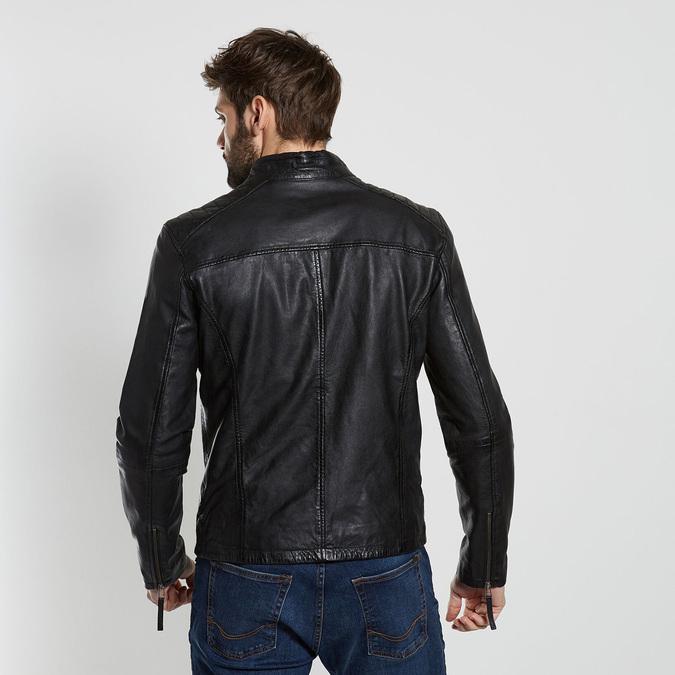 Černá kožená pánská bunda bata, černá, 974-6205 - 26