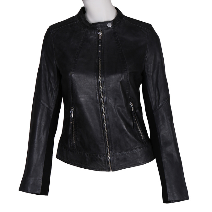 Černá kožená dámská bunda bata, černá, 974-6203 - 13