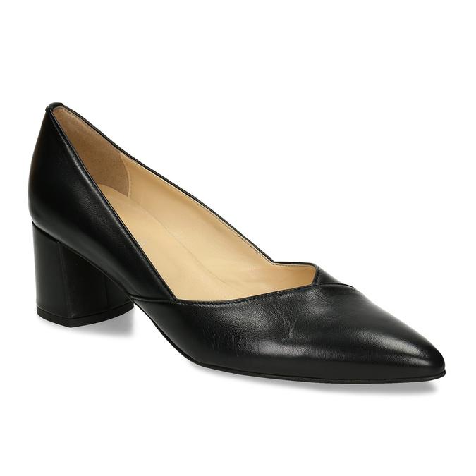 Černé kožené dámské lodičky na stabilním podpatku bata, černá, 724-6614 - 13