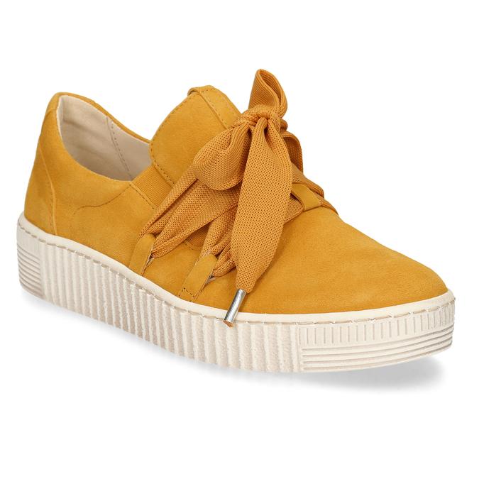 Žlutá kožená dámská slip-on obuv gabor, žlutá, 544-8626 - 13