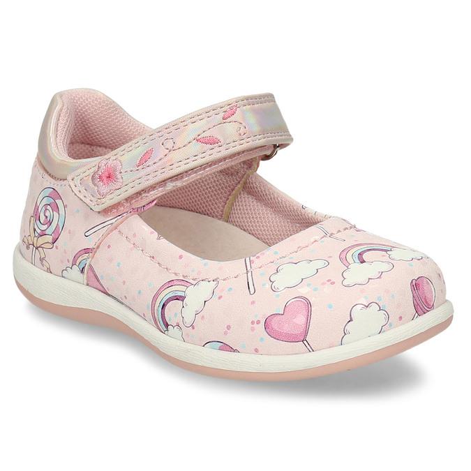 Růžové dívčí sandály na suchý zip bubblegummers, růžová, 121-5600 - 13