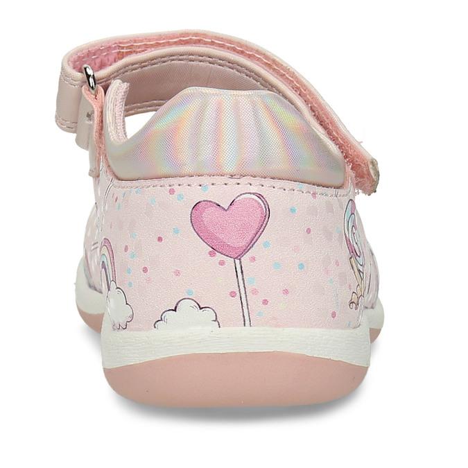 Růžové dívčí sandály na suchý zip bubblegummers, růžová, 121-5600 - 15