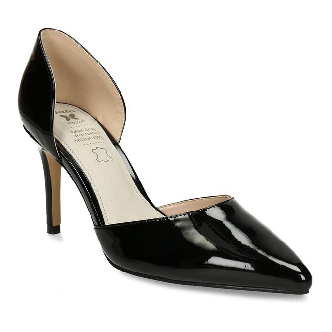 Černé dámské lodičky s koženou stélkou bata, černá, 721-6603 - 13