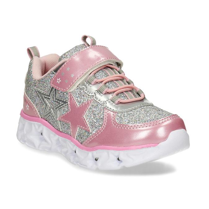 Růžovo-stříbrné dívčí svítící tenisky mini-b, růžová, 221-5601 - 13