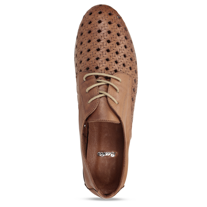 Hnědé pánské kožené polobotky v derby stylu s výraznou perforací bata, hnědá, 526-3605 - 17