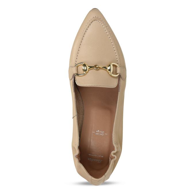 Béžové dámské kožené mokasíny s kovovou přezkou bata, béžová, 514-8610 - 17