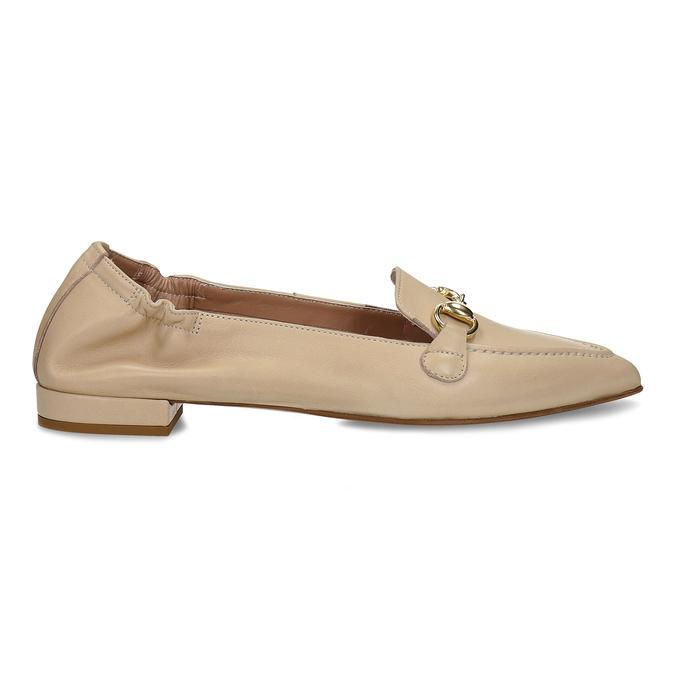 Béžové dámské kožené mokasíny s kovovou přezkou bata, béžová, 514-8610 - 19