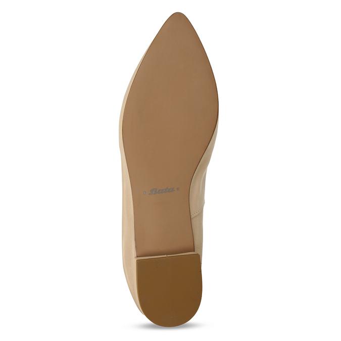 Béžové dámské kožené mokasíny s kovovou přezkou bata, béžová, 514-8610 - 18