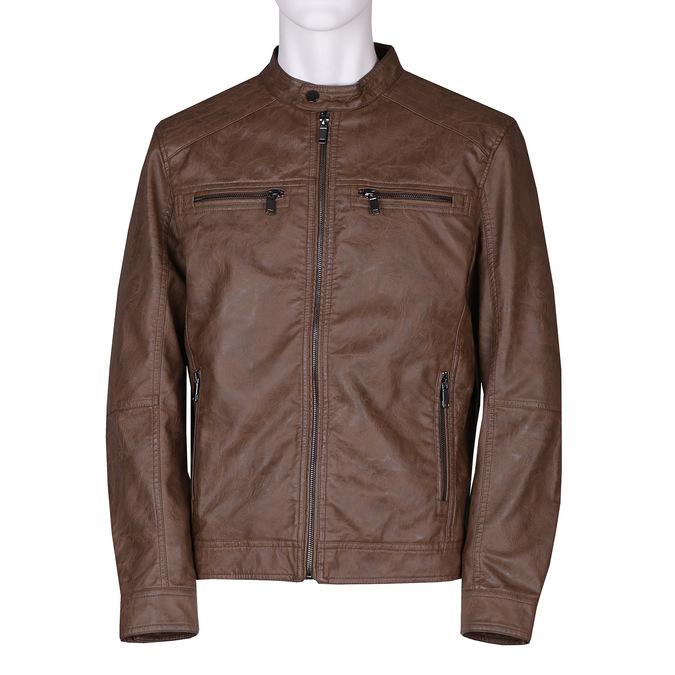 Hnědá pánská koženková bunda se zipem bata, hnědá, 971-3288 - 13
