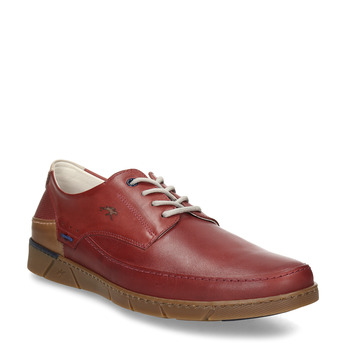 Červené pánské kožené neformální polobotky fluchos, červená, 846-5700 - 13