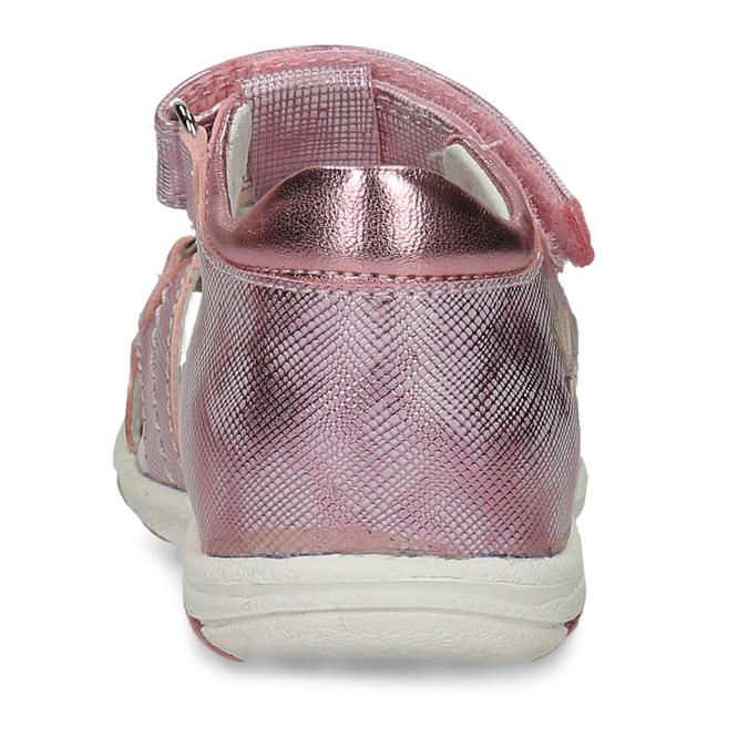 Lesklé růžové dívčí sandály s kytičkami bubblegummers, růžová, 161-5603 - 15