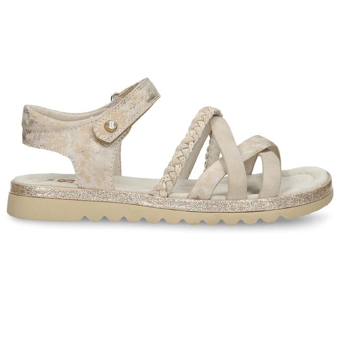Béžové dívčí páskové sandály mini-b, béžová, 361-8600 - 19