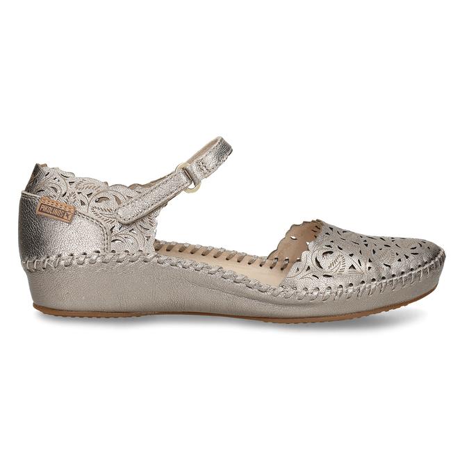 Stříbrné dámské kožené sandály s dekorativní perforací pikolinos, stříbrná, 524-1634 - 19
