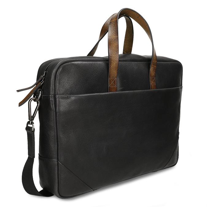 Černá pánská kožená taška na notebook bata, černá, 964-6651 - 13