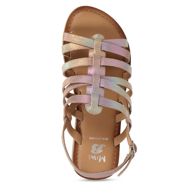 Neonové dívčí kožené sandály mini-b, vícebarevné, 365-4698 - 17