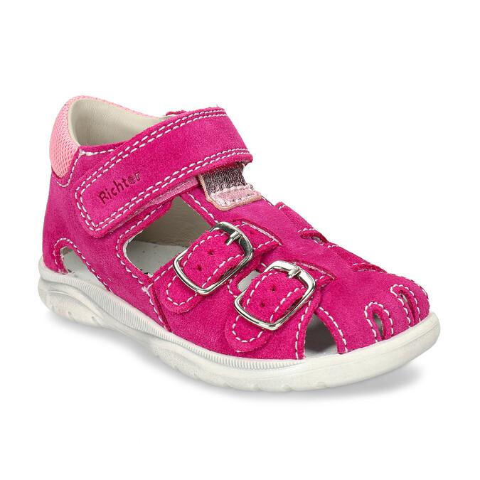 Růžové kožené dětské sandály na suchý zip i přezky richter, růžová, 163-5601 - 13
