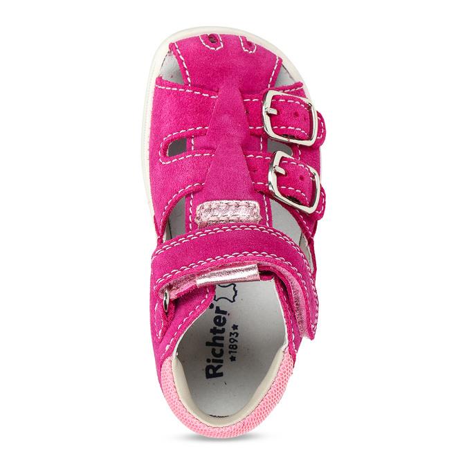 Růžové kožené dětské sandály na suchý zip i přezky richter, růžová, 163-5601 - 17