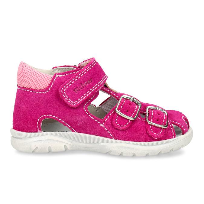 Růžové kožené dětské sandály na suchý zip i přezky richter, růžová, 163-5601 - 19