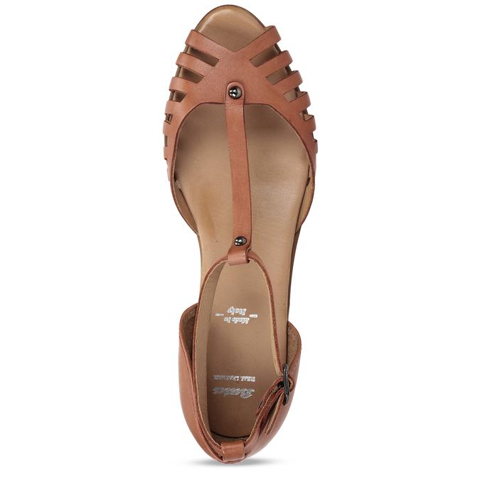 Terakotové dámské kožené sandály bata, hnědá, 524-5610 - 17