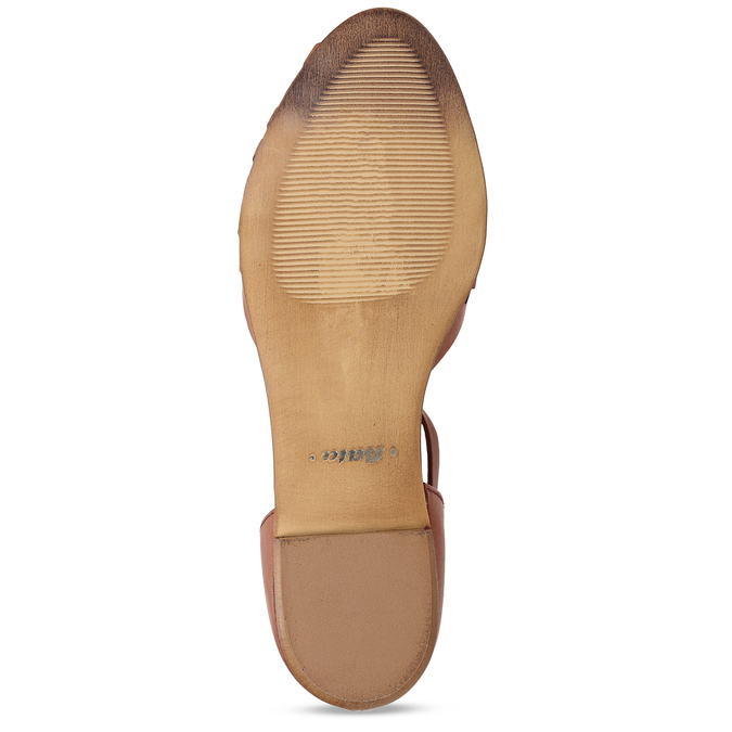 Terakotové dámské kožené sandály bata, hnědá, 524-5610 - 18