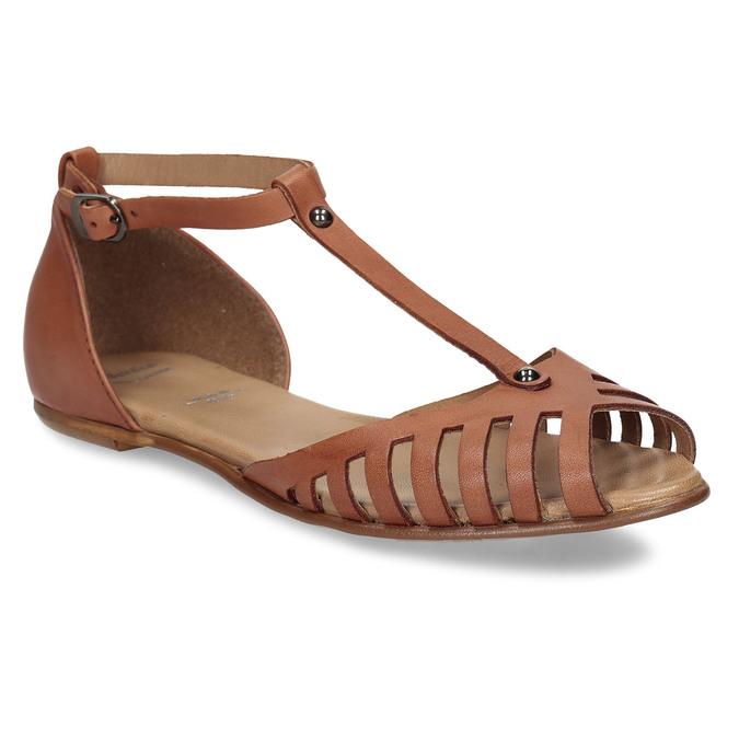 Terakotové dámské kožené sandály bata, hnědá, 524-5610 - 13