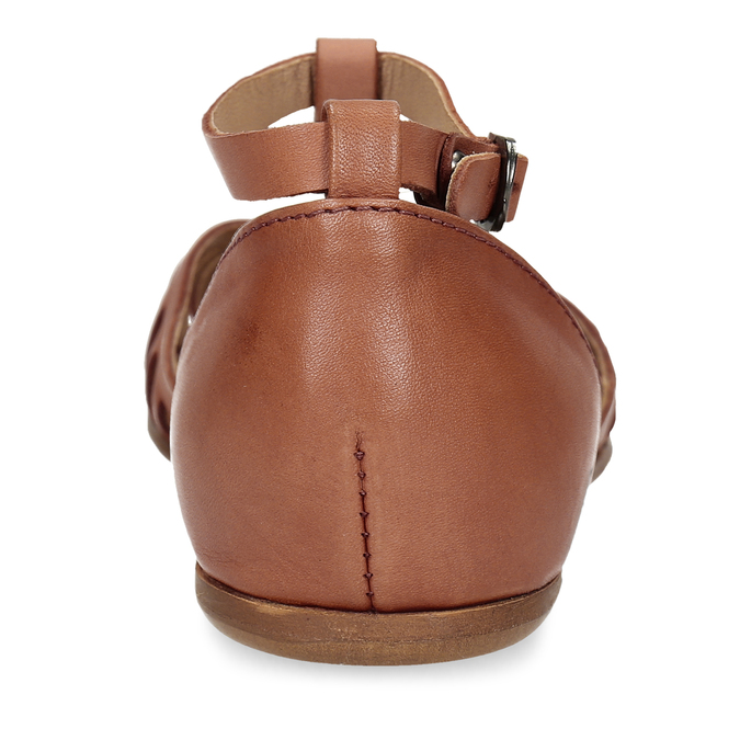 Terakotové dámské kožené sandály bata, hnědá, 524-5610 - 15